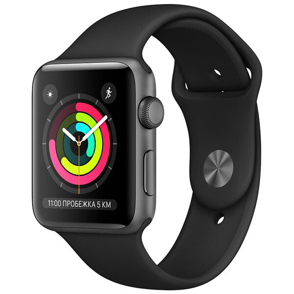 Смарт-часы Apple Watch S3 38mm Space Grey Al/Black Sport Band