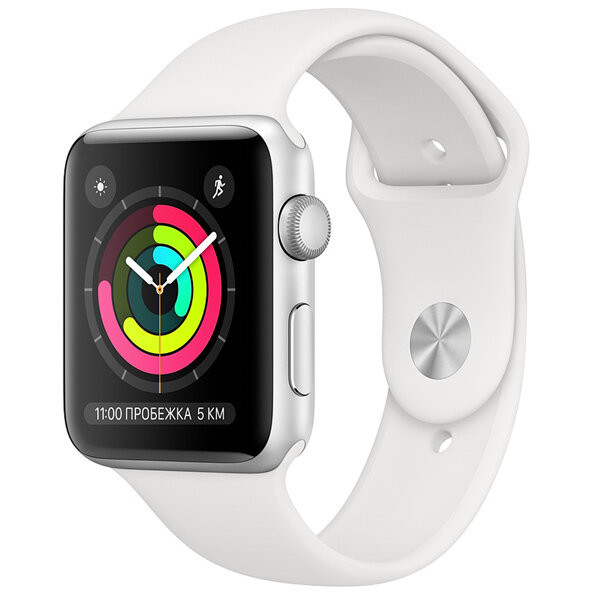 Смарт-часы Apple Watch S3 42mm Silver Al/White Sport Band